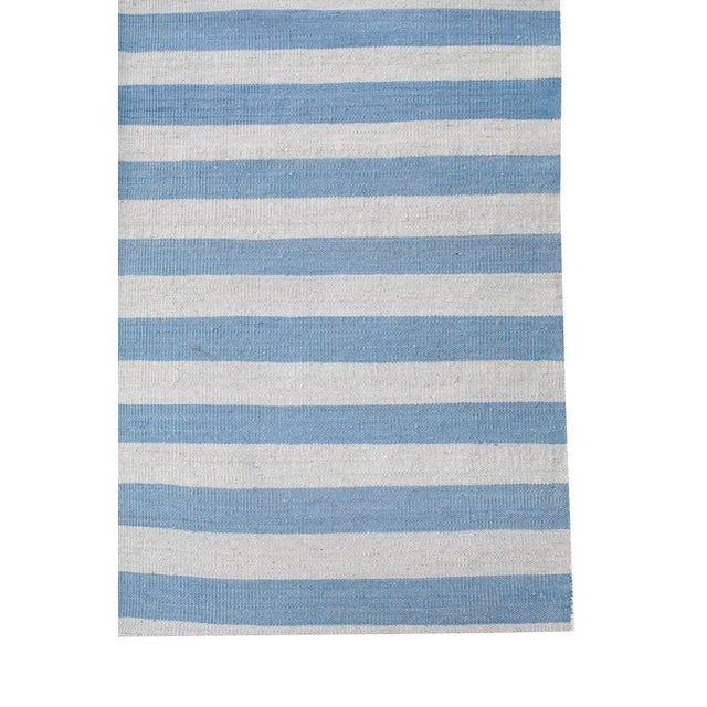 Contemporary Afghan Handmade Blue & White Striped Flat-Weave Rug - 8′4″ × 9′5″ For Sale - Image 3 of 4