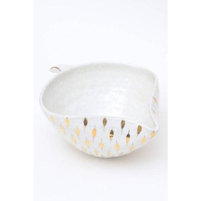 Aldo Londi for Bitossi Gold Painted White Ceramic Bowl Vintage For Sale - Image 9 of 11
