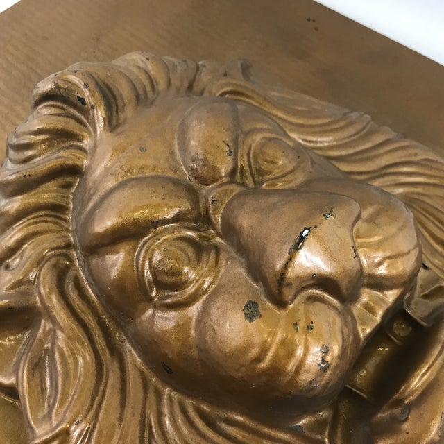 1960s Mid-Century Modern Lion Wall Plaque For Sale - Image 5 of 6
