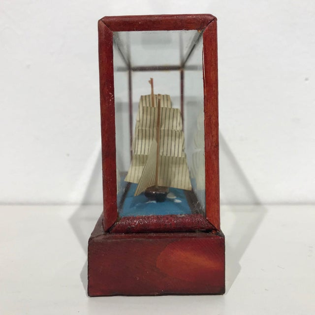 Miniature Model Sailing Ship in Wood & Glass Case - Image 7 of 11