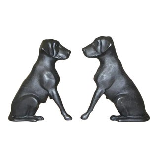 1960s Labrador Dog Fireplace Andirons - a Pair For Sale
