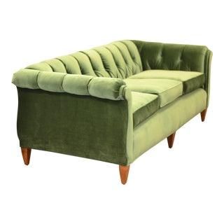 Vintage Ascent Tufted Tuxedo Green Sofa