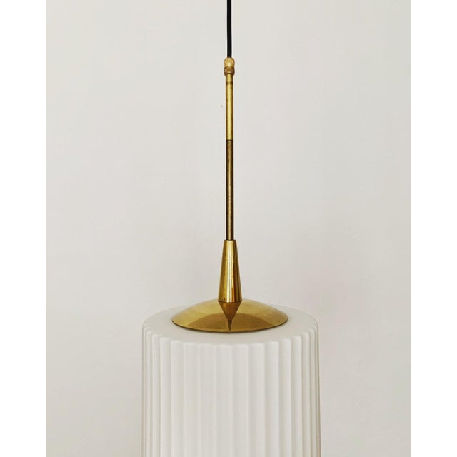 Mid-Century Modern Opaline Glass and Brass Pendant Lamp For Sale In Los Angeles - Image 6 of 11