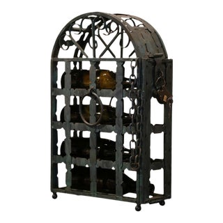 19th Century French Wrought Iron Four Bottle Wine Rack With Lock and Keys For Sale