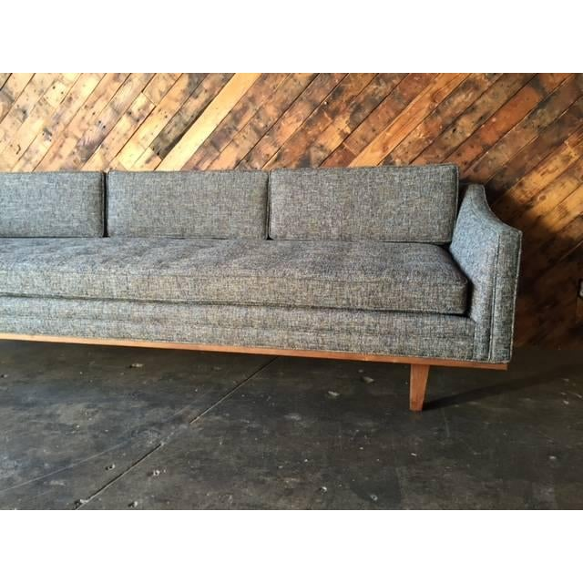 Mid Century Style Sofa With Walnut Trim For Sale In Los Angeles - Image 6 of 8