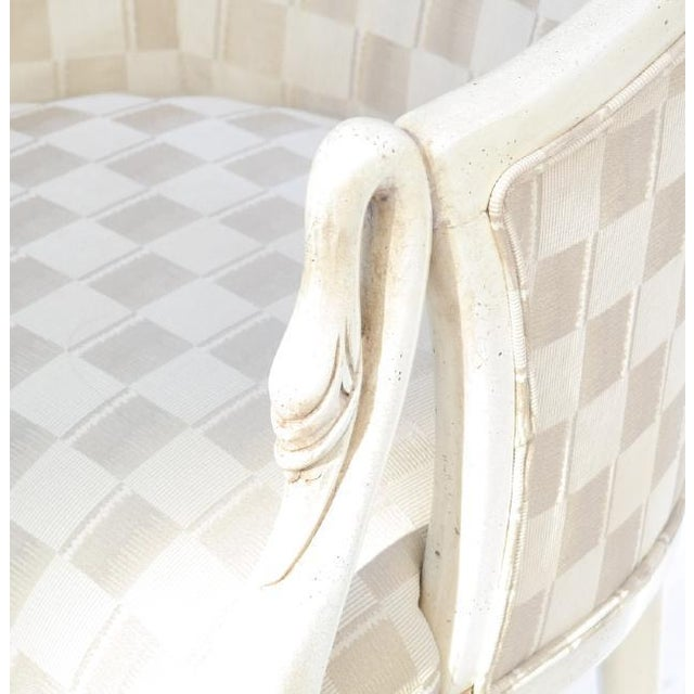Textile Painted Swan-Form Bergere Chair For Sale - Image 7 of 8