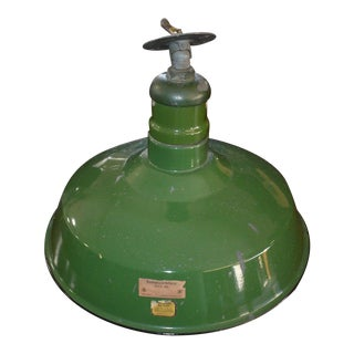 Mid 20th Century Green Porcelain Industrial Commercial Lighting Fixture For Sale