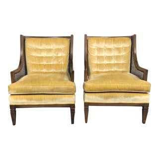 Hollywood Regency Golden Velvet Cane Wing Chairs - a Pair For Sale