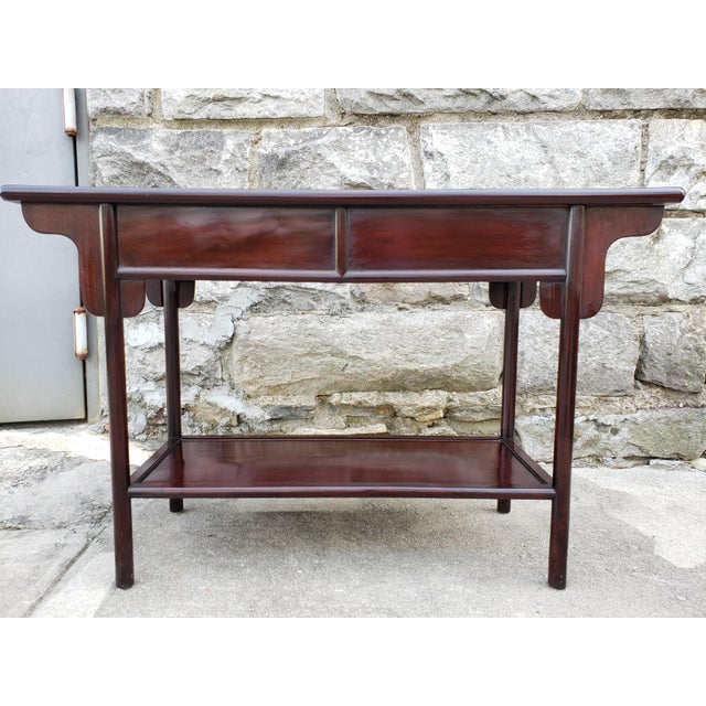 1950s Vintage Asian Rosewood Console Table For Sale - Image 5 of 13