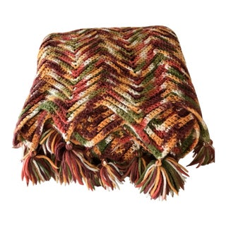 Crochet Knit Throw Blanket in Fall Colors 1970's For Sale