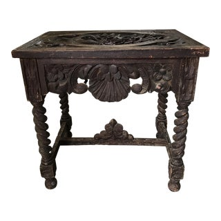 Antique Spanish Colonial Hand Carved Side Table