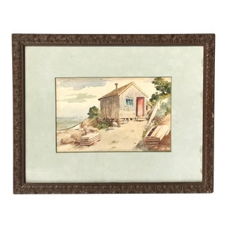 Antique Watercolor Painting of Rockport, MA For Sale