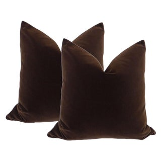 "22"" Velvet Pillows in Chocolate - A Pair"