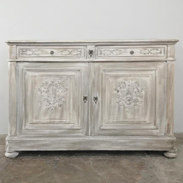 19th Century Country French Louis XVI Whitewashed Buffet For Sale - Image 13 of 13