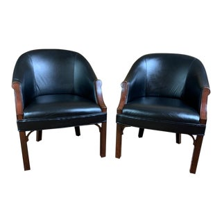 Kimball Black Leather Office Side Chairs – a Pair For Sale