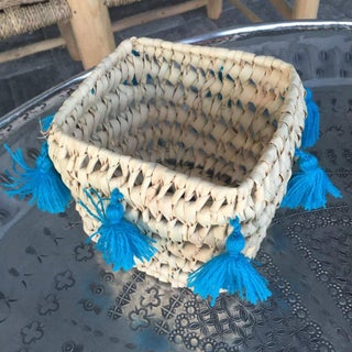 Moroccan Turquoise Tassel Basket Preview