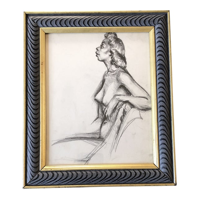 Original Vintage Female Nude 1950's Charcoal Study Drawing Framed For Sale