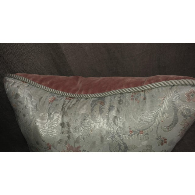 Vintage Silk Floral Damask Fragment Throw Pillow For Sale - Image 4 of 6