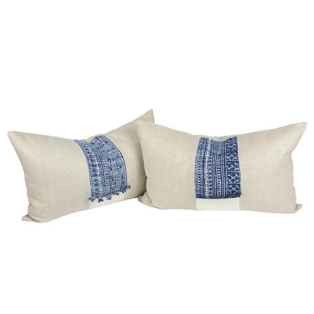 Indigo Batik Linen Pillows - A Pair - Image 1 of 5