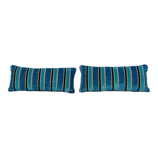 Custom Made Decorative Lumbar Pillows Made From Designers Guild Cut Velvet Fabric - A Pair For Sale