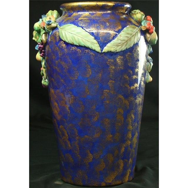 Italian Majolica Blue Ceramic Umbrella Stand Vase - Image 2 of 9