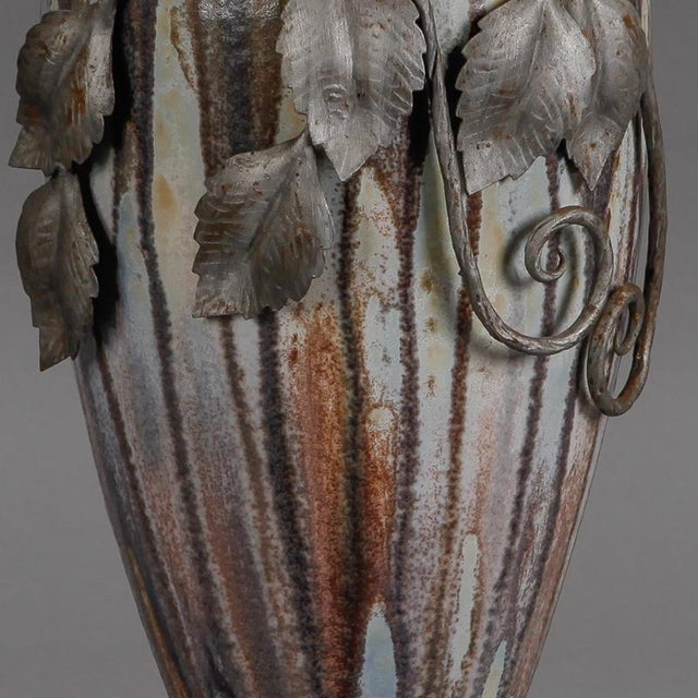 Ceramic Tall Signed Roger Guerin Vase with Iron Overlay For Sale - Image 7 of 8