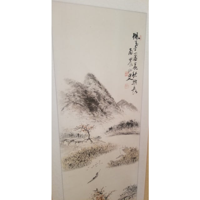 Asian 1960s Vintage Korean Hand Painted Seasons Silk Screen For Sale - Image 3 of 11