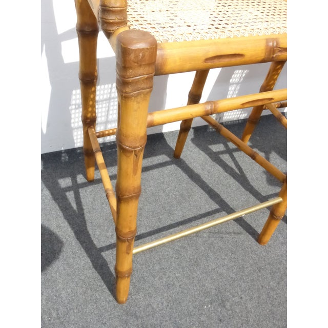 Faux Bamboo Bahama Style Bar Stools - A Pair For Sale - Image 9 of 11