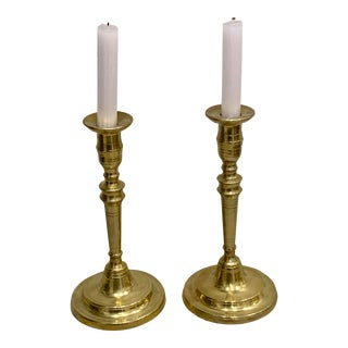 18th Century Antique Brass Candle Sticks-a Pair For Sale