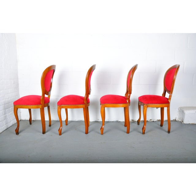 Red Vintage Set of 4 French Louis XV Maple Dining Chairs W/ Red Velvet Upholstery For Sale - Image 8 of 11