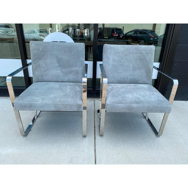 Pair of Vintage Chrome Chairs, Newly Recovered in Hide For Sale - Image 4 of 11