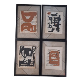 Abstract Art on Antique Music Sheets, Set of 4 For Sale