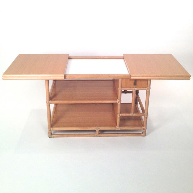 Mid Century Modern McGuire Bamboo, Lamanent & Brass Expandable Bar / Server / Buffet - Image 3 of 10