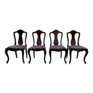 Queen Anne Style Solid Wood Dining Chairs- Set of 4 For Sale