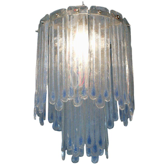 Mid-Century Opaline Murano Glass Chandelier Attributed to Mazzega For Sale