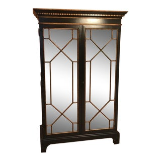 Traditional Lillian August Black Bar Cabinet With Gold Accents and Lighted Interior For Sale