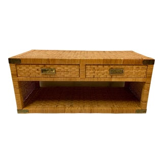 Bilecky Brothers Style Wicker Wrapped Campaign Style Coffee Table For Sale