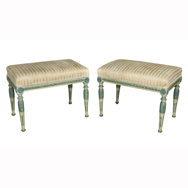 Swedish Neoclassic Painted Benches - a Pair For Sale - Image 11 of 11