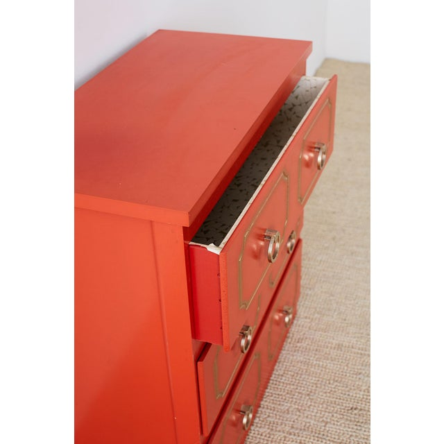 Dorothy Draper Dorothy Draper Style Coral Red Commode or Chest For Sale - Image 4 of 13