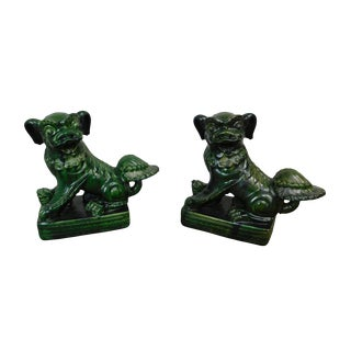 Vintage Dark Green Chinese Glazed Pottery Pair Foo Dogs Statues For Sale