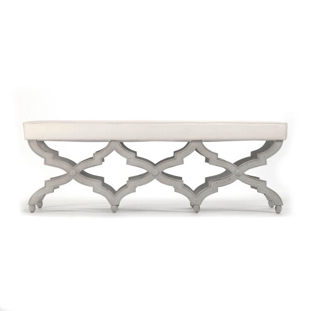Onslow Bench in Off-White For Sale - Image 4 of 4