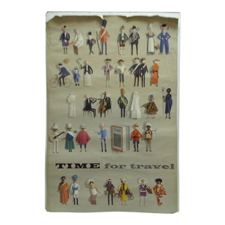 "Jerome Kuhl ""Time for Travel"" Vintage Poster For Sale"