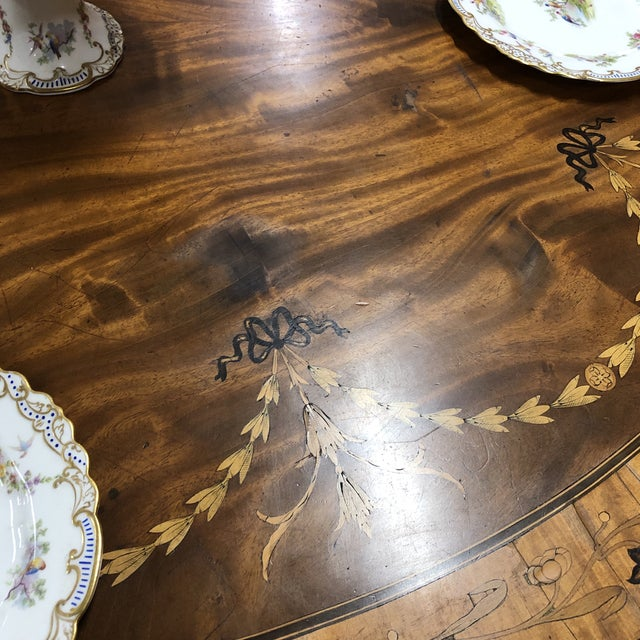 Metal Neoclassical Inlaid Oval Table & 4 Chairs - 5 Pieces For Sale - Image 7 of 10