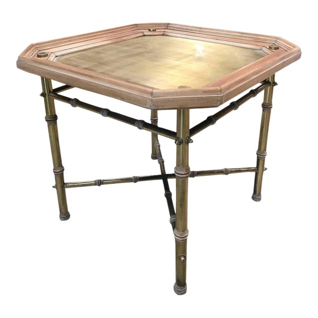 Italian Coffee table or side table in brass and wood. For Sale