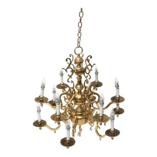 Hollywood Regency Brass Flemish Gold Chandelier