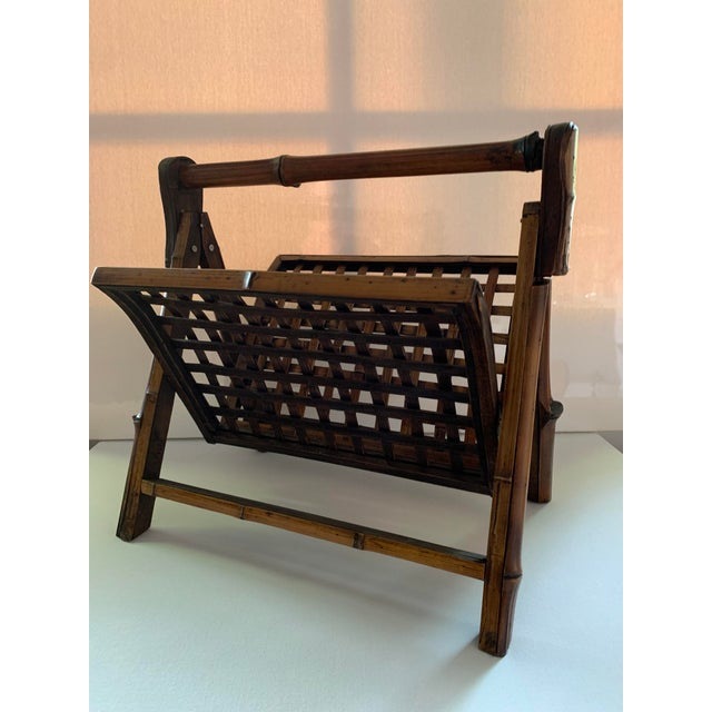 Mid 20th Century Vintage Folding Bamboo and Rattan Magazine Rack For Sale - Image 5 of 5