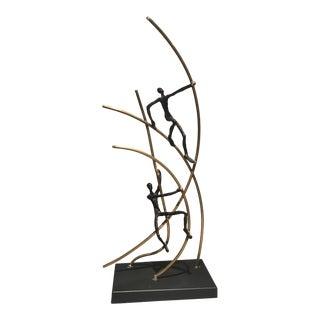 """Global Views """"Up Swing Men Climbing"""" Sculpture"""