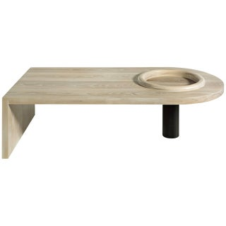 Monolith Slab Coffee Table by Phaedo White Washed Ash With Raised Rim Bowl For Sale