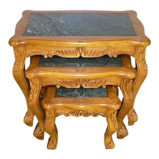 Hollywood Regency Inlaid Green Marble Topped Carved Nesting Table Set - 3 Pieces For Sale