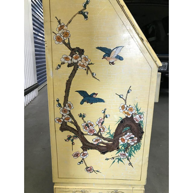 Yellow Vintage Chinoiserie Hand-Painted Secretary For Sale - Image 8 of 12